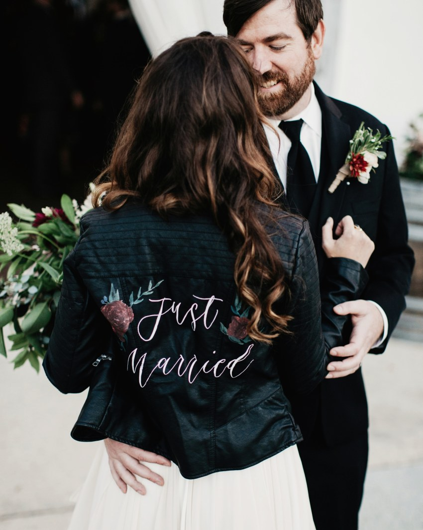 just married leather wedding jacket