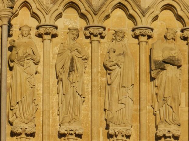 Four Salisbury Sunbathers, stonemasonry detail at Salisbury Cathedral