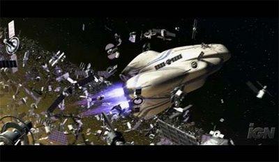 Wall-E ship through debris