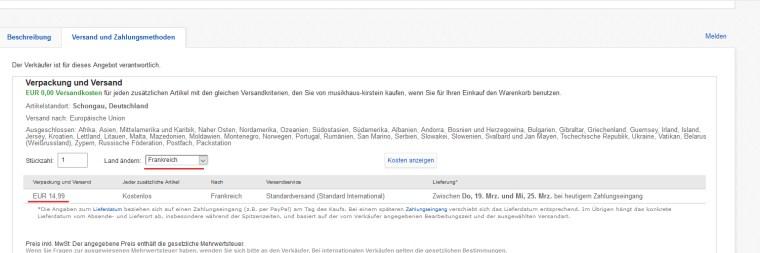 comment trouver le prix de livraison sur ebay Deutschland