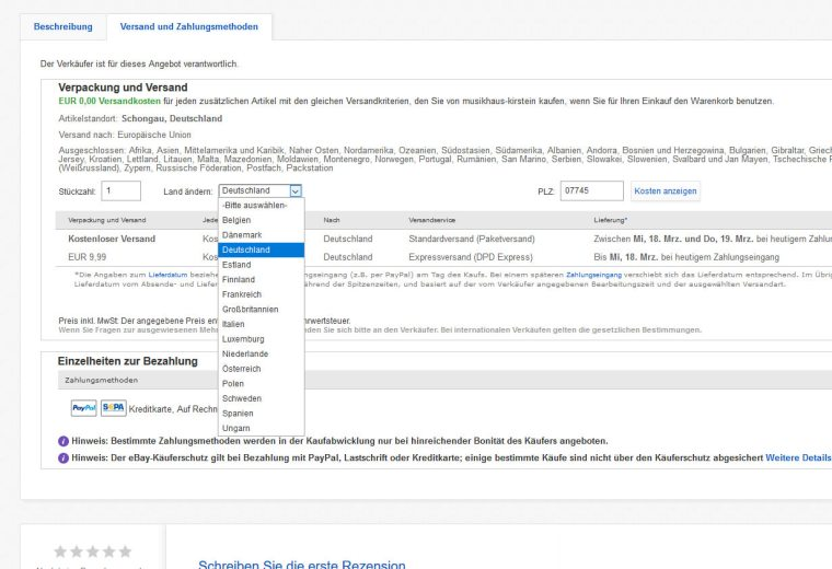 livraison à l'international sur Ebay Allemagne
