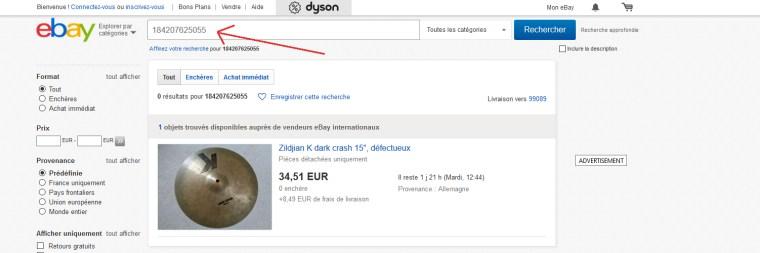 retrouver un article sur Ebay France