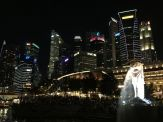 Skyline of Singapore with the Merlion.
