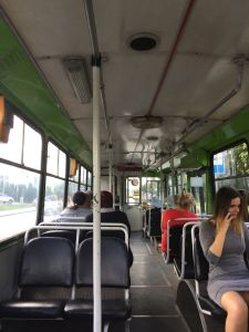 The bus to the central bus stop - one of the old electric ones