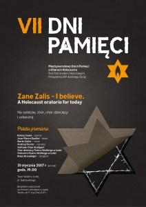 "Plakat Lodz 2016 - Zane Zalis ""i believe - A HOLOCAUST ORATORIO FOR TODAY"""