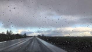 rainy highway near the coast
