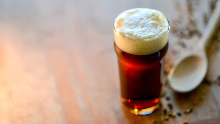 A glass of American brown ale beer a wooden spoon and some spice.
