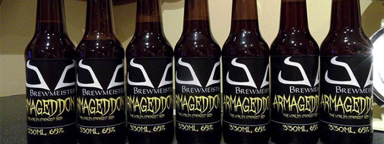 Bottles of Armaggedon beer as the strongest beer in the world.