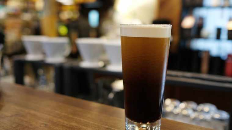 A glass of nitro beer.