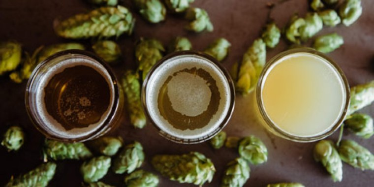 Three glasses of different beer surrounded by scattered hops flowers.