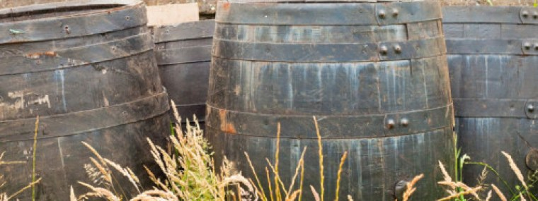 Wooden beer casks left to ferment in the open space.