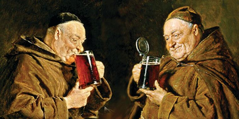 A portrait of two monks drinking beer from mugs.
