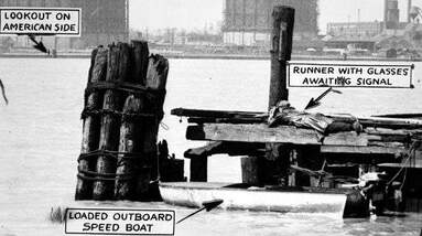 A rum smuggling operation in the Detroit river during prohibition.