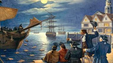 A painting of a Boston Tea Party