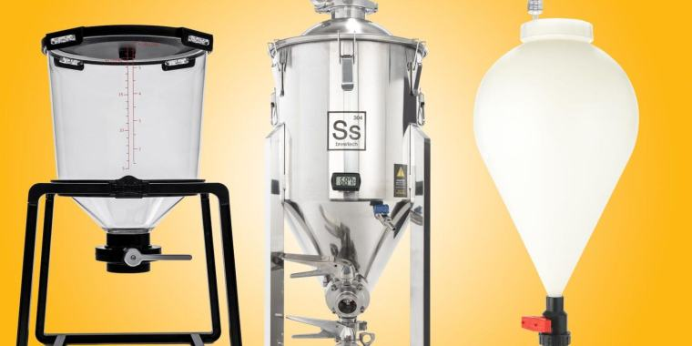 Different types of conical fermenters for beer brewing.