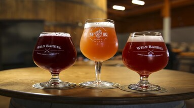 Three glasses of sour beer with different colors and flavorings.