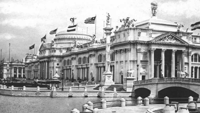 An old black and white photograph showing the 1983 Chicago World Fair.