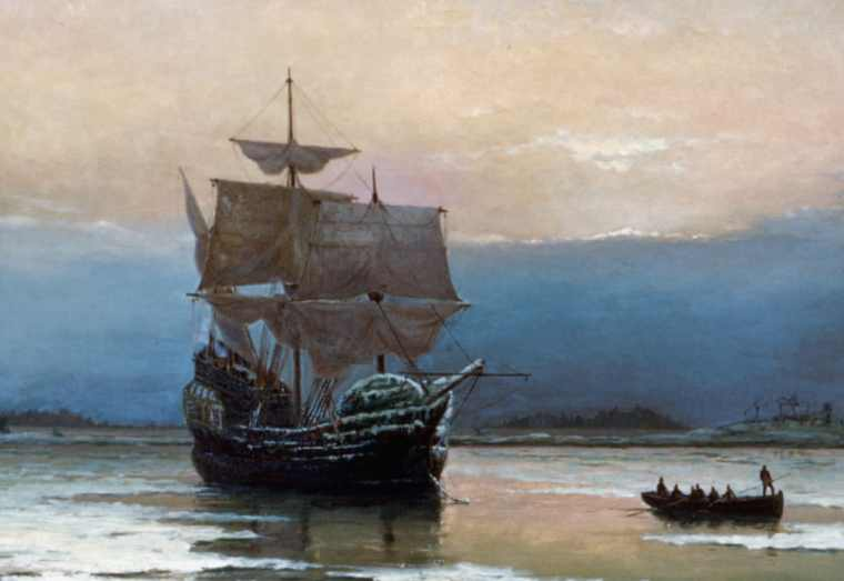 A painting of the Mayflower ship and  a smaller boat carrying passengers.