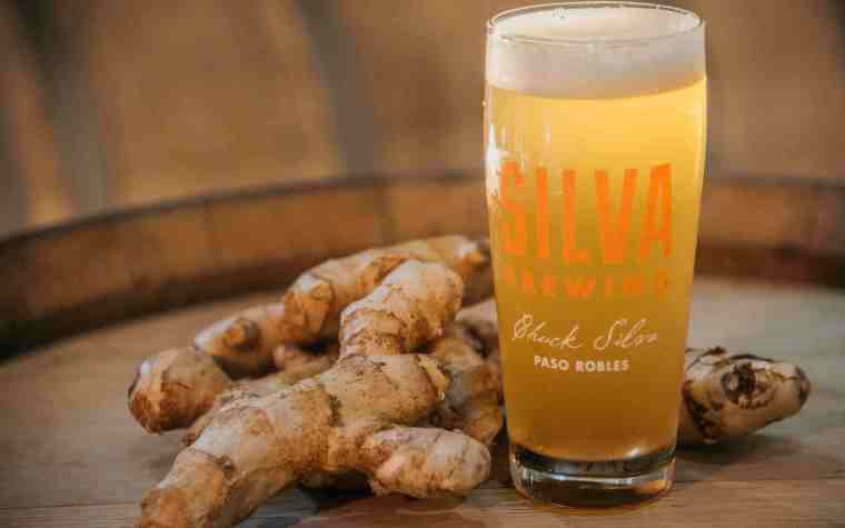 A glass of ginger saison beer with a ginger root.