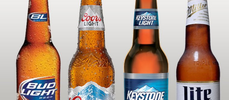 A bottle of Bud Light, Coors Light, Keystone Light and Miller Lite representing American light beers on  a white background.