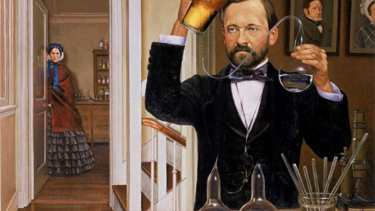 Louis Pasteur doing experiments with beer.