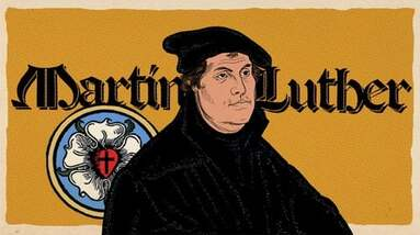 A mosaic of Martin Luther and his crest.