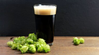 A glass of dark stout beer surrounded by fresh hop flowers.