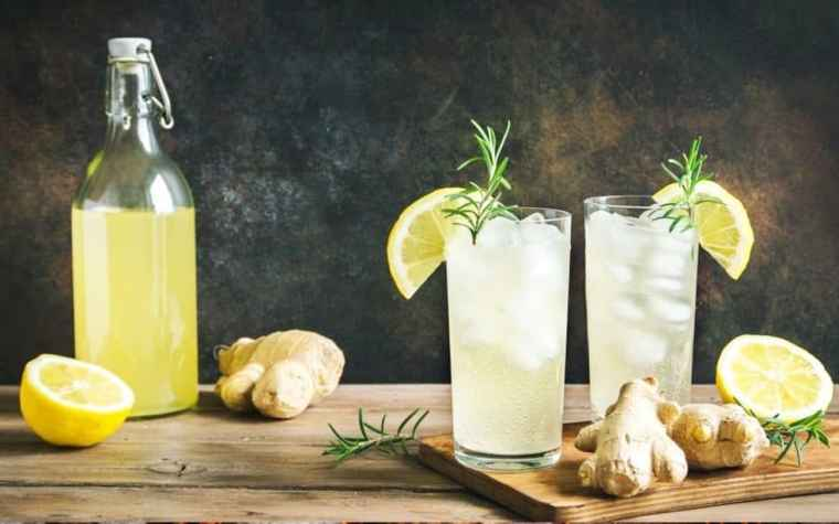 A bottle of fermented lemonade with two glasses of the drink decorated with lemon slices, and ginger roots.