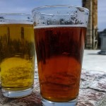 Two beers on the patio at Boylan Bridge Brewpub