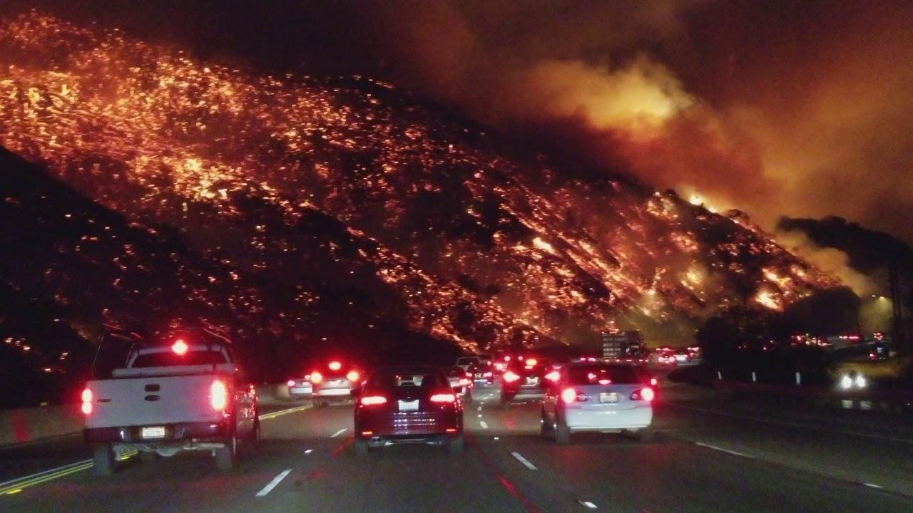 Fire on the hillside like lava near highway 405 in California