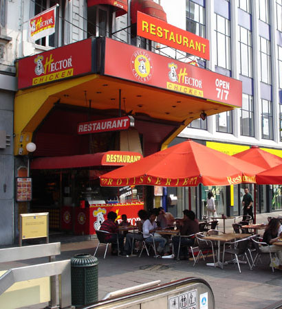 Famous Hector Chicken halal restaurant in Brussels.