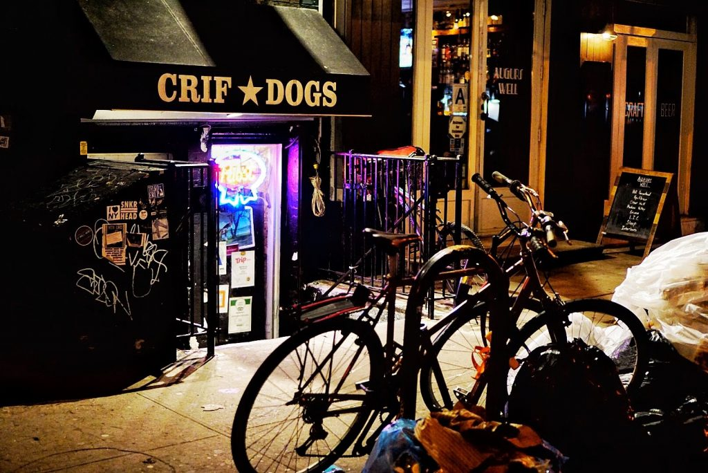 The entrance to Crif Dogs where Please Don't Tell hides.