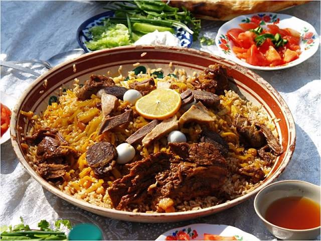 A dish of meat and rice from The Russian House Austin.