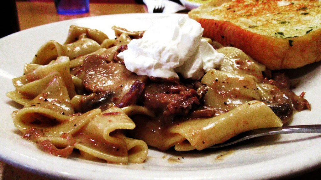 A plate full of beef stroganoff from Phillips Avenue Diner