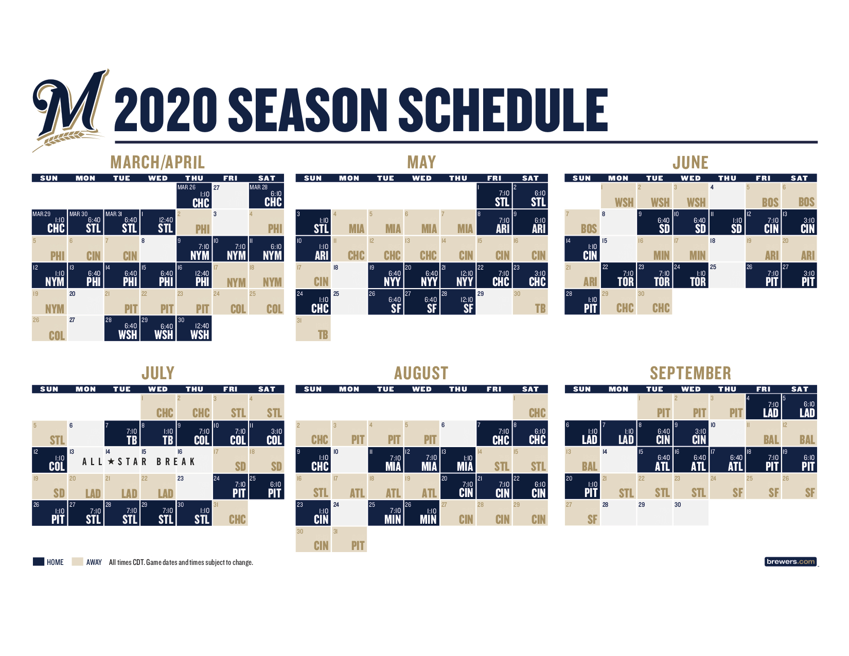 It is an image of Mesmerizing Brewers Schedule Printable