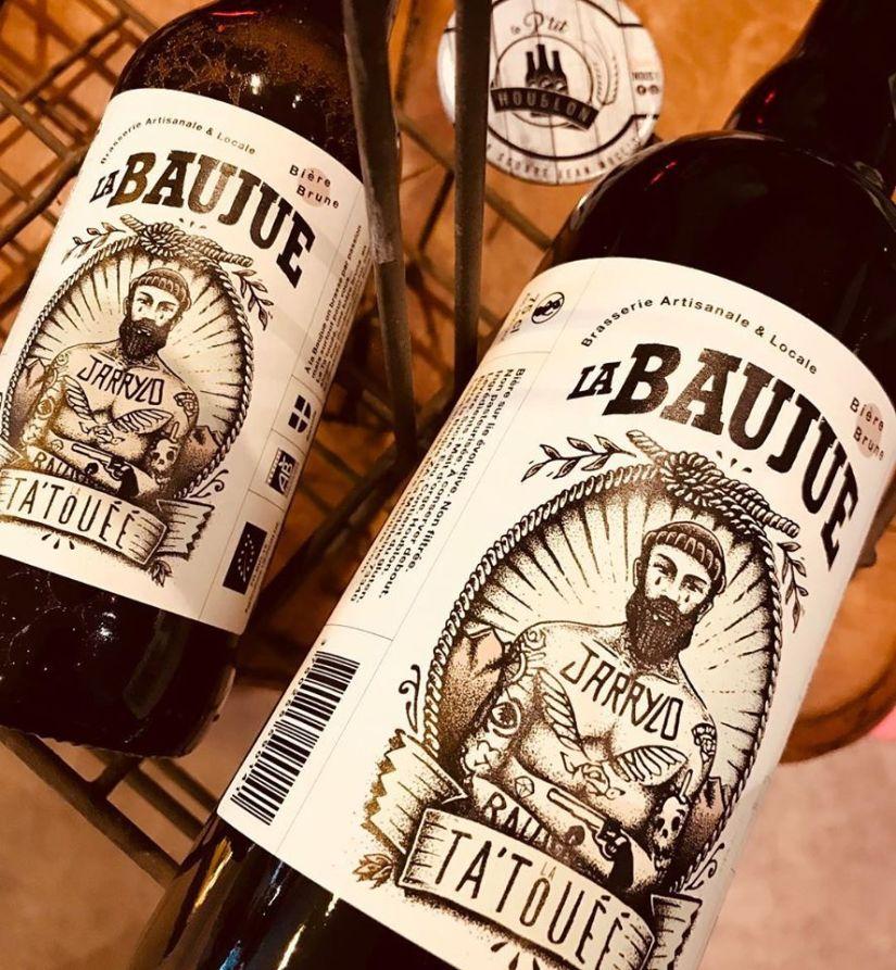Bière tatouée de la brasserie la Baujue