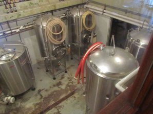 Photo showing brewery fermenters.