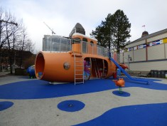 A fun submarine play structure for children. Not adults.