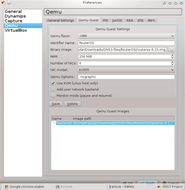 Running Mikrotik RouterOS x86 on GNS3 | Brezular's Blog