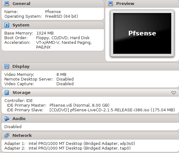 PfSense VirtualBox Appliance as Personal Firewall on Linux