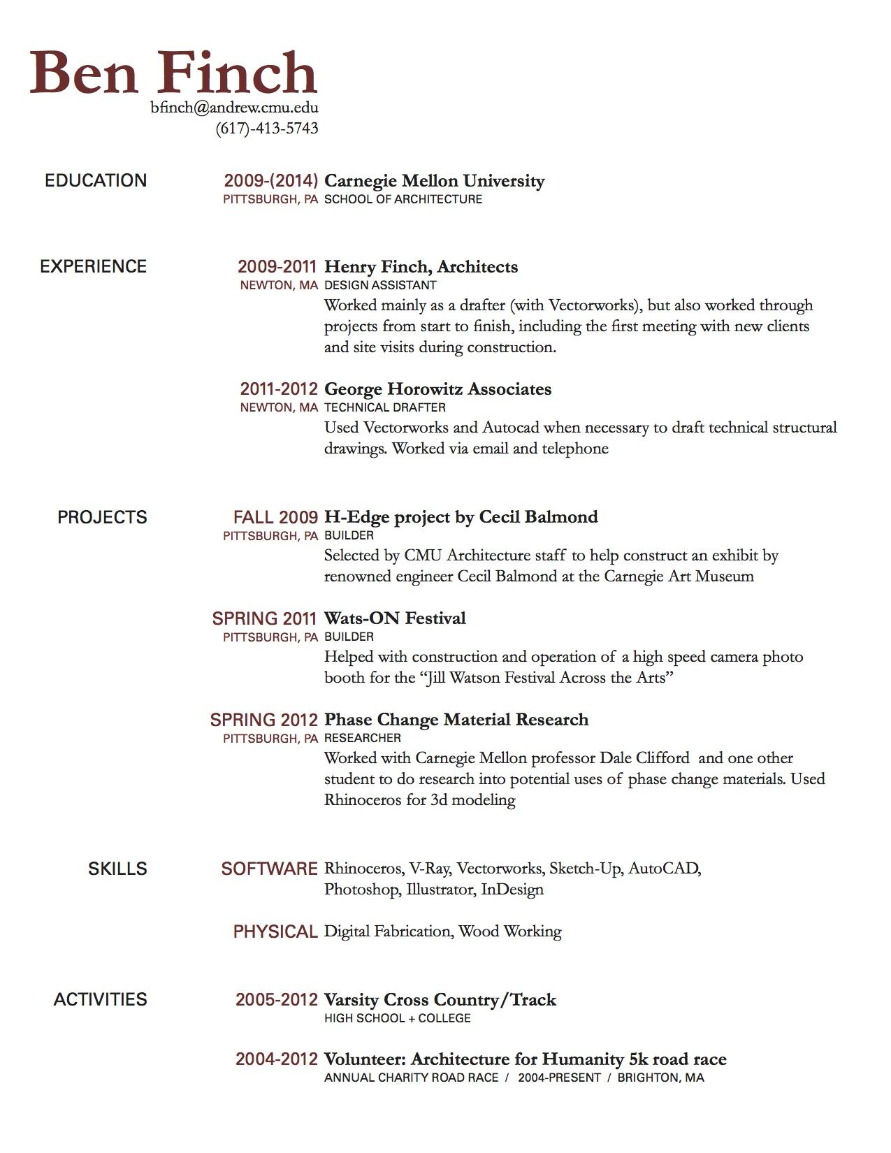 Resume Rough Draft Ben Finch Cdf