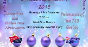 Don't miss Oasis Academy Isle of Sheppey Carol Concert next Thursday, 17 December. FREE tickets available from East and West Reception.
