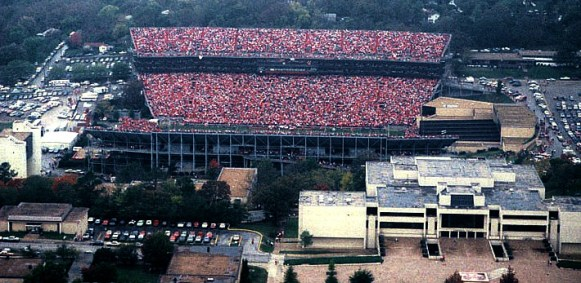 A view of Razorback Stadium's expanded second deck in the late 1980s. The current student union (bottom left) still had its original facade then.