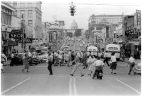 A view of the Capitol Theater, 600 Main St. in Little Rock, in 1958. The theater's vertical marquee is in the upper right of the picture (look at the capitol and then pan to the right).