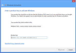 Activating Windows 8
