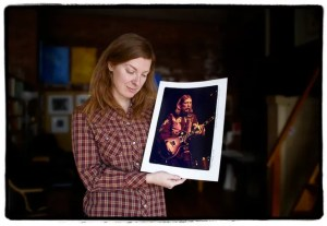 Galadrielle Allman with a photo of her father Duane (Amalie R. Rothschild)