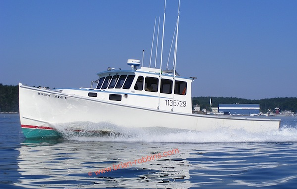 Bossy Lady II, a Wayne Beal 40 owned by Terry Lagasse of South Bristol, ME. Farrin's Boat Shop of Walpole finished the Bossy Lady II in 2002.