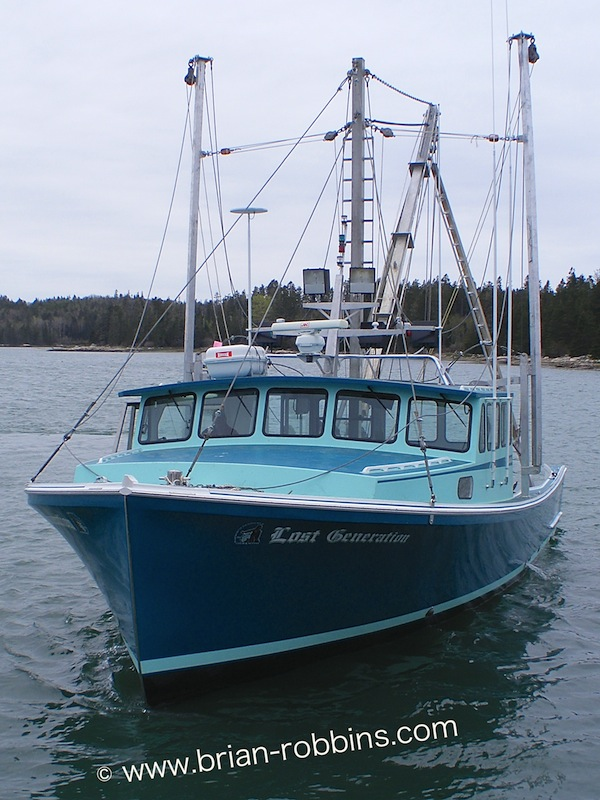 Lost Generation, a 44' Calvin Beal scalloper owned by Wally Gray Sr. of Deer Isle; finished by Light's Fiberglass in Corea, ME. (2014)