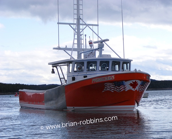 "The 46'8""x15' Prometheus, owned by Fred Backman of Winter Harbor, ME. Prometheus is a modified version of a 43'8"" hull from Long Beach Boatbuilders, Cape Breton, Nova Scotia, Canada."