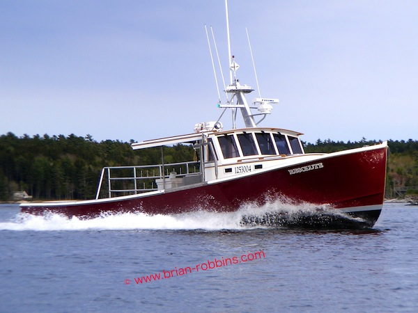 The 46' Resolute, built by John's Bay Boat Co. in South Bristol, ME for Ryan Larrabee of Stonington. (2014)